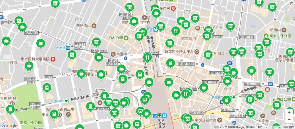 新宿区のLINEモバイルWifiオプションが使える場所(多い)
