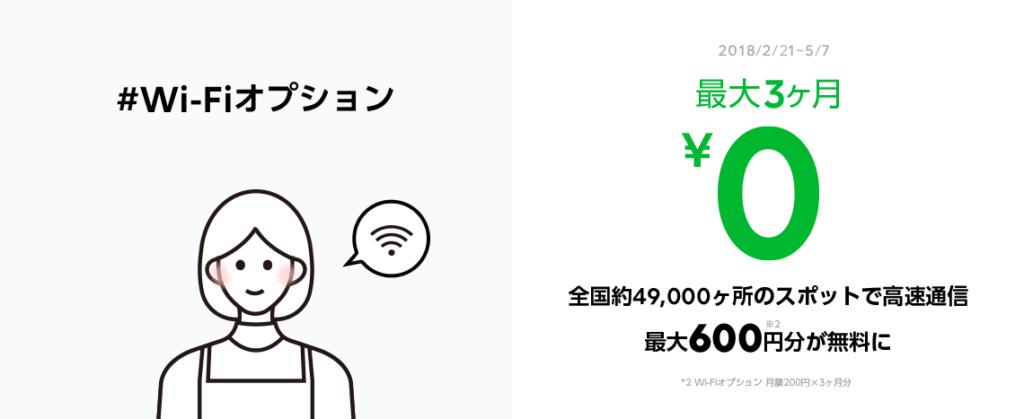 LINEモバイルWifiオプションのキャンペーン