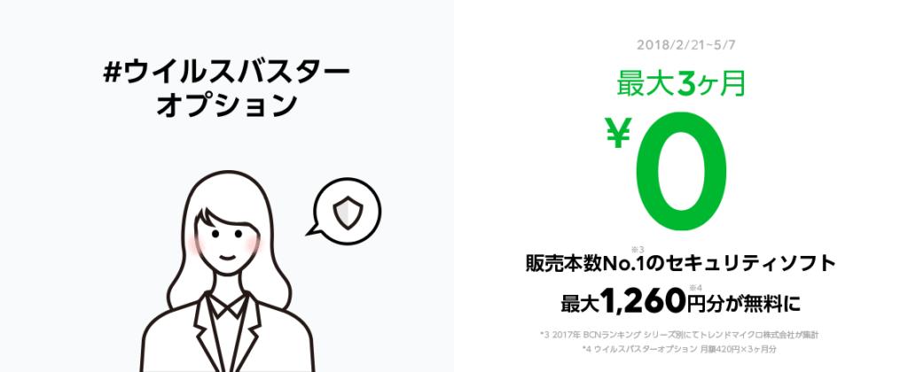 ウイルスバスターオプションの最大3ヶ月無料キャンペーン