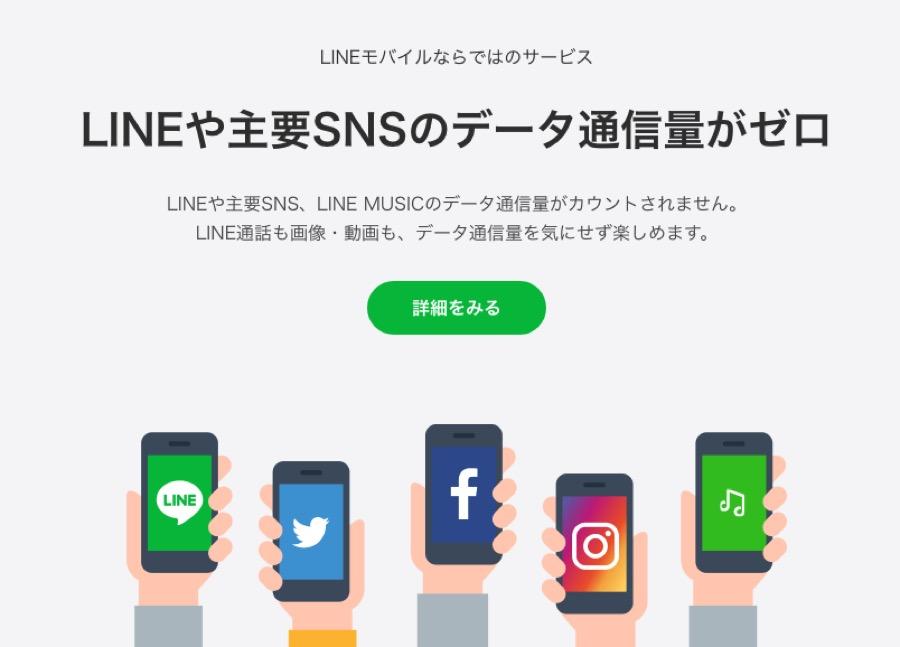 LINEモバイルのデータフリー