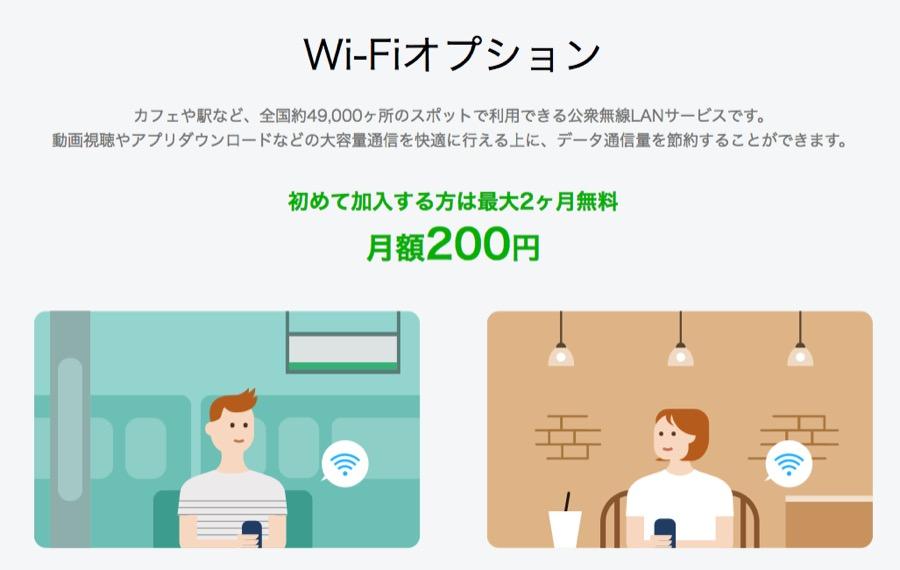 LINEモバイルのWiFiオプション