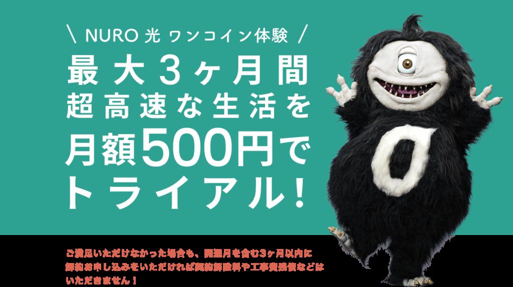 3ヶ月間ワンコイン!月額500円キャンペーン